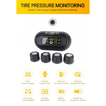 BOLTEE Windscreen Solar Powered Tyre Pressure Monitoring System, TPMS(External Sensors)